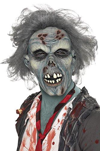 Smiffy's - maschera da zombie in decomposizione, in lattice, adulti, colore: blu, taglia unica