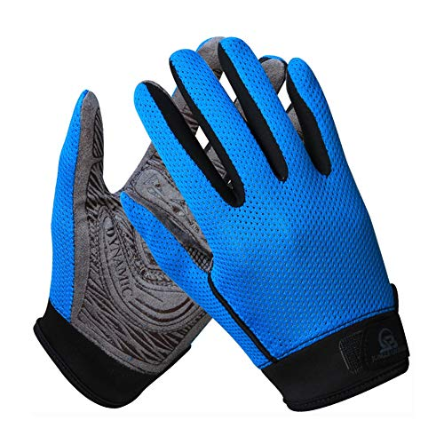 ZWYY Radfahrhandschuhe, Voll-Felder-Sport-Atemschuhe Herbst Sommer Long Finger Glove Gym Bike Handschuhe Touch Screen Mann Frau Anti-Slip Handschuhe,Blue,L