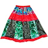 Mogul Interior Festive Skirts Red Green Patchwork Designer Boho Gypsy Mini Skirts