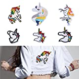HENGSONG 6 Stück Applikationen zum Aufnähen Einhorn Patches Stickerei Spitze Aufnäher Aufbügler DIY Patches Set für Kleidung T-Shirt Jeans Taschen Hut