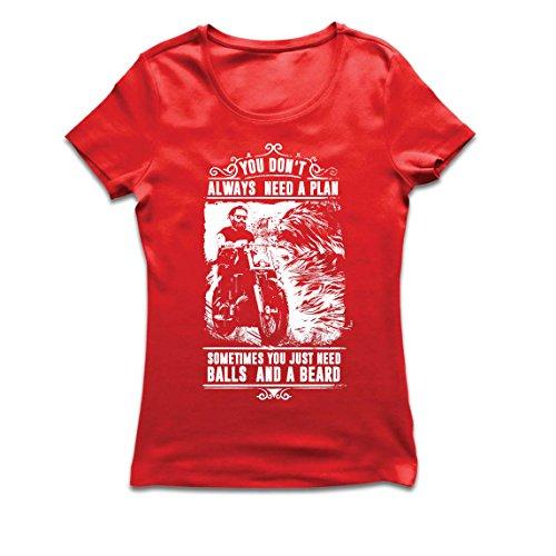 Maglietta donna non hai sempre bisogno di un piano - motocicletta, amore da guidare, ottimo regalo per i motociclisti (x-large rosso multicolore)