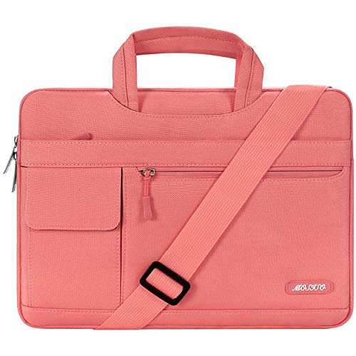 MOSISO Laptop Schultertasche Kompatibel mit 13-13,3 Zoll MacBook Pro, MacBook Air, Notebook Computer, Polyester Flapover Messenger Aktentasche Handtasche, Lebende Koralle