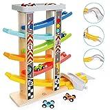 TOP BRIGHT Kugelbahn Autorennbahn Holz mit 6 Fahrzeuge, Auto Rennbahn Kinder Geschenke Holz Spielzeug ab 1 Jahr -