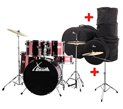 """XDrum Semi 22\"""" Standard Schlagzeug Rot Set inkl. Galgenständer, 16\"""" Crash Becken und Schlagzeugtaschen (inkl. Snareständer, Fußmaschine, Hi-Hat, Becken, Hocker, Drumsticks, Schule, DVD, ShellSet)"""