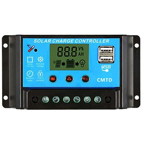 Anself PWM Solarlade Regler Solar Panel Batterie Regulator mit Dual USB 12.6V Lithium-Batterie Typ Batterie Regulator