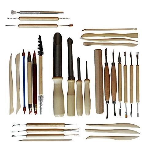 Kit Poterie & Céramique 30 pcs Outils de Sculpture pour Argile Par Kurtzy. Matériel de Sculpture Modelage & Gravure pour Céramiques. Outils Bois & Métal/Simple & Double-Embouts. Débutants & Professionnels