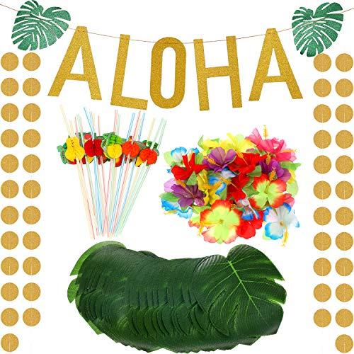 Maitys 189 Stücke Hawaii Tropisch Luau Thema Party Dekoration Satz inklusiv Gold Glitzer Aloha Banner Bunte 3D Frucht Strohhalme Tropisch Palm Simulation Blätter Künstliche Hibiskus Luau Blumen - Papier Hibiskus-blumen
