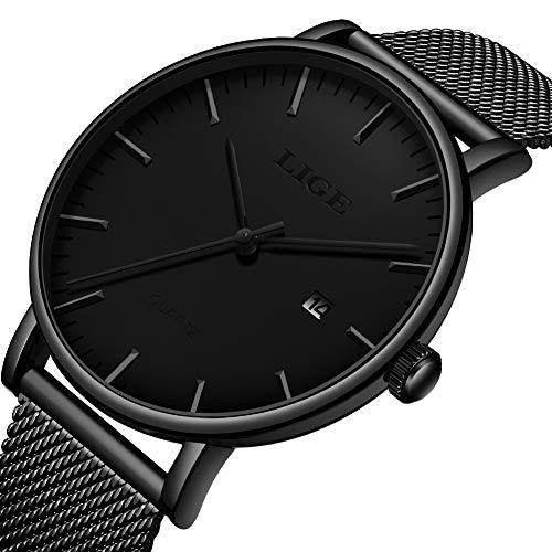 Reloj LIGE para Hombre Negro Clásico Minimalista Cuarzo Analógico Relojes de Pulsera Impermeable Casual Moda con Correa de Acero Inoxidable