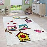 Paco Home Kinderzimmer Shaggy Teppich Eulen Kinder Teppich Hochflor in Creme Mehrfarbig, Grösse:160x220 cm, Farbe:Creme Beige