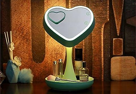 FACAIY multifunktional Make-up Mirror berühren Sie die LED Mirror LED Tischleuchte Lagerung Box faltbare eine kleine Runde 3 x Vergrößerung Spot Mirror USB Charge, grün