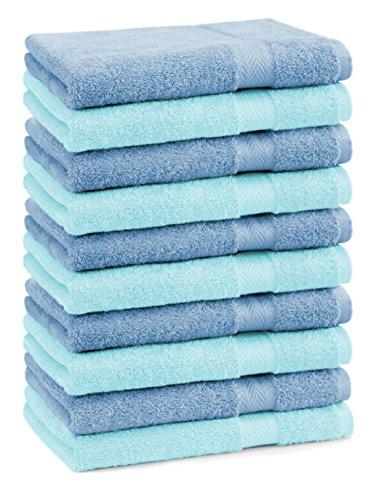 BETZ Lot de 10 Serviettes d'invité Taille 30x50 cm 100% Coton Premium Couleur Bleu Clair et Bleu Turquoise