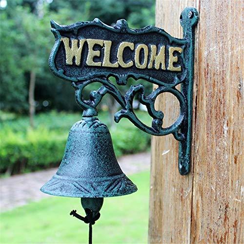 AsdflinaKNR Casa de Campo Styl Vintage Bell Bienvenido Metal Decorativo Puerta de...