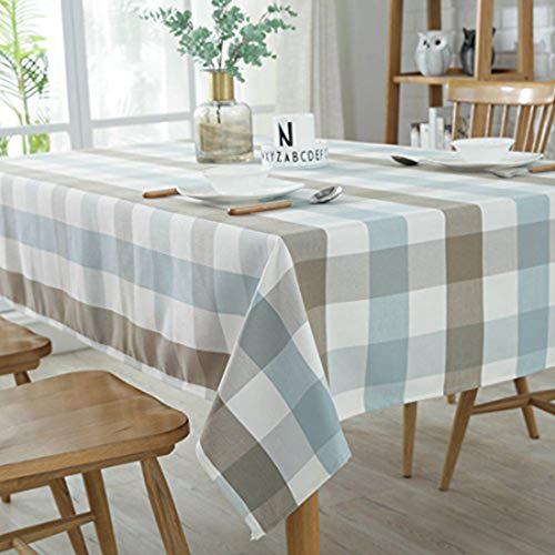GWELL Wachstuch Tischdecke Wasserdicht Karo Eckig Abwaschbar Schmutzabweisend Tischtuch Pflegeleicht Haus Dekorationen blau 140 * 220m