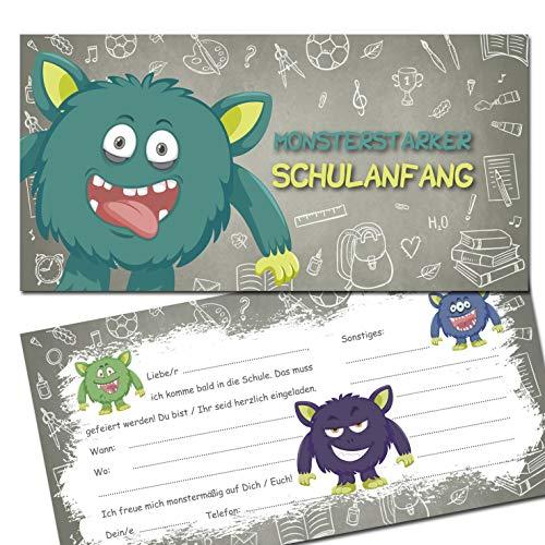 KREATIVES HERZ - Monster Einladungskarten zur Einschulung 10er Set Einladungen Schulanfang Karten 1.Schultag Kinder Schüler Mädchen und Jungen