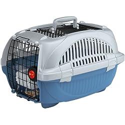Feplast 73038899W1 Transportín para Gatos y Perros de Talla Pequeña Atlas Deluxe 10 Open, Plástico Robusto, Techo Abrible, Rejillas de Ventilación, 34 x 50.7 x 30 Cm Azul Fuerza Aérea