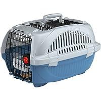 Ferplast 73038899W1 Transportbox ATLAS DELUXE 10 OPEN, für Katzen und Hunde, Maße: 34 x 50,7 x 30 cm, blau