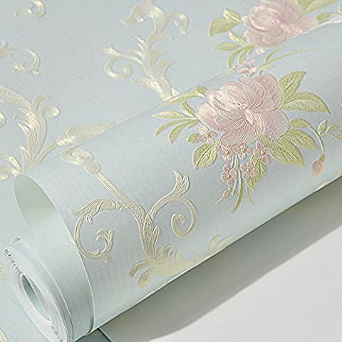 BABYQUEEN Un cadre idyllique étanche de gaufrage de papier autocollant mural chambre stéréo 3D chaud continental du papier mural salon mur papier peint Blue