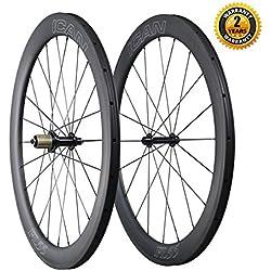 ICAN 700C Carbono Carretera Bicicleta Rueda 55mm Clincher Tubeless listo Sólo 1605g