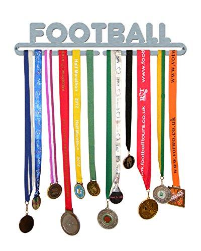 The Medal Hanger Shop 'Fußball' Medaille Aufhänger Display Halter Edelstahl gebürstet-Made in Großbritannien