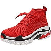 ☺Damen Sneakers Sportschuhe Laufschuhe Plateauschuhe Turnschuhe Fashion Frauen Schnürstiefel Schuhe Leichte Schuhe Trainer Freizeitschuhe Fitnessschuhe Stretch Woven Breathable Dicke Schuhe Boots
