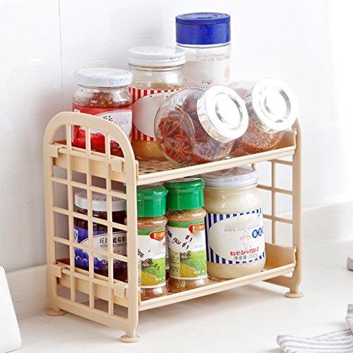 Wubing Badezimmerregal Doppel Kunststoff Küche Kleines Regal Desktop Storage Regal Bad Waschen Station Platzierung 2 Tier Draht Regal Innentoilette Waschbecken Corner Organizer Regal (Color : PINK) -