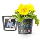 Lehrer Geschenk Blumentopf (ø16cm) | Zum Abschied oder Danke sagen in der Grundschule mit Rahmen für zwei Fotos (10x15cm) | Sie als Lehrer zu haben, war unser Segen.
