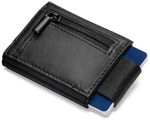 Vision Wallet Mini Portemonnaie Herren mit Münzfach für bis zu 7 Kreditkarten - schmale Leder Geldbörse für Karten, Scheine und Münzen -