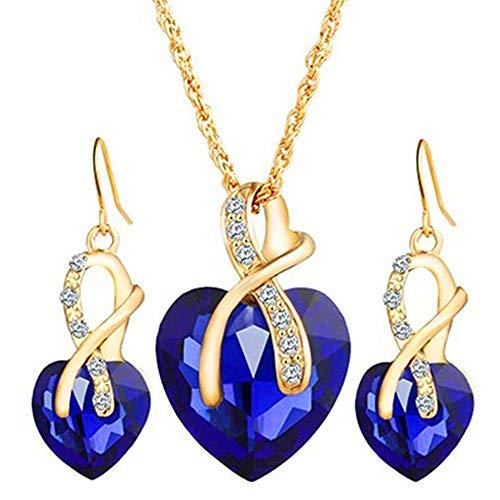 Schmuck Plattiert Sets Kostüm Gold - Scpink Frauen Herz Kristall Strass Silber Kette Anhänger Halskette + Ohrringe Schmuck Sets Romantisches Geschenk (Blau)
