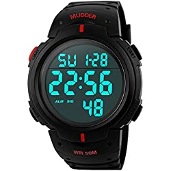 Mudder 5ATM Waterproof Digital Sports Military Multifunctional Dive Wrist Watch Red