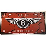 Vintage estilo Walter Owen Bentley Retro pared placa la matrícula del coche en inglés (Metal, 30x 15cm