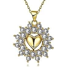 Yeahjoy charm da donna elegante a forma di cuore fiore pendente Bling collana rolò