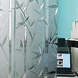 Befon Fensterfolie Selbstklebend Milchglasfolie Blickdicht Sichtschutzfolie Fenster (Bambus (90X200))