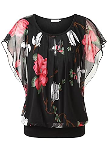 BAISHENGGT Women's Floral Print Ruched Front Round Neck Flounced Sleeve Top Black-1 Large