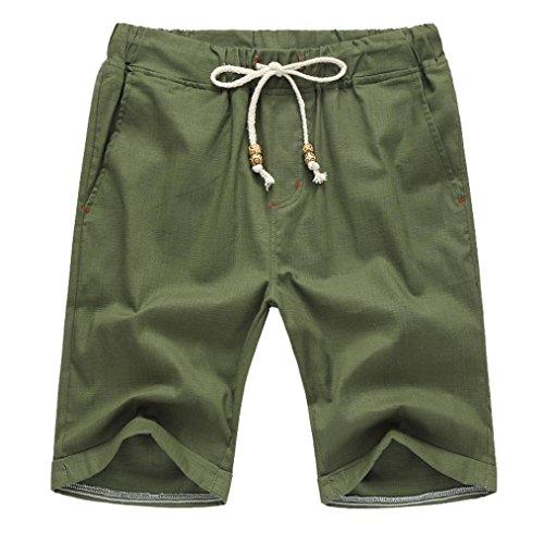 GreatestPAK Pants Leinen Baumwolle Shorts Männer Herren Sommer Solid Beach Casual elastische Taille Klassische Passform Hosen Kurze Hosen,XXX-Large,Grün -