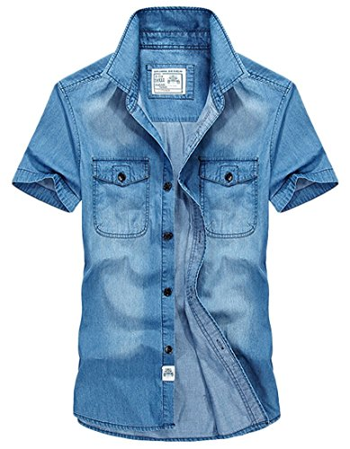 Insun Herren Freizeit-Hemd Gr. XL, Blau - Hellblau