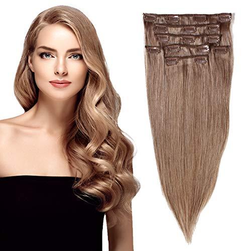hair2heart Clip in Echthaar Extensions, 7 tlg. 100g Set, 40cm - glatt - #10 straßenköterblond