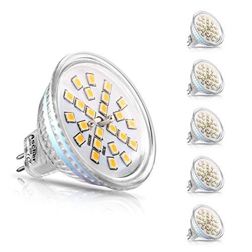 Ascher 5er Pack MR16 GU5.3 LED Lampen, 400lm, Ersatz für 50W Halogenlampen, 4W, 12V AC/DC, Warmweiß,120 ° Ausstrahlungswinkel, LED-Reflektorlampe mit GU5.3-Sockel (Lampe Ersatz-leuchtmittel)