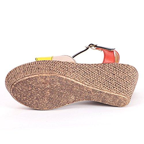 Alexis Leroy Damen Knöchelriemchen Sandalen mit Keilabsatz Rote