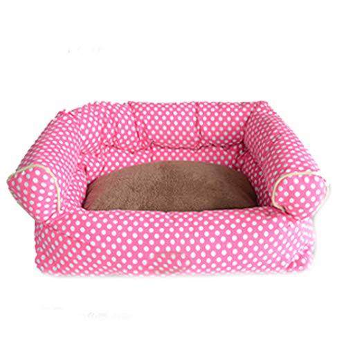 Vogelbauer Liuyu · Lebenshaus Rosa Polka Dot Pet Nest Vier Jahreszeiten Universal abnehmbare und waschbar Small Medium Samt Katze Kennel Villa Warm Kissen Sofa 60cm * 40cm * 18cm -