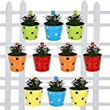 #8: TrustBasket Railing Planters Round Dotted (Green, Blue, Red, Yellow, Orange) - Set of 10