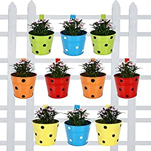 Trust basket Round Dotted Railing Planters (Green Blue Red Yellow Orange) - Set of 10