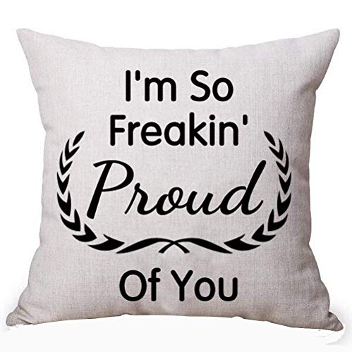 WENEOO LA Best Gift Idea Black Creative Funny Inspirational Sayings I'm So Freakin Proud of You Cotton Linen Decorative Home Office Throw Pillow Case Cushion Cover Square 18 X 18 Inches