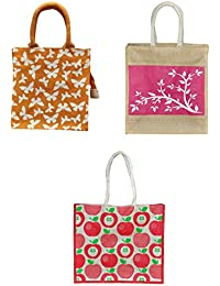 ARIHANT MARKETING Jute Lunch Bags Colour May Vary Reusable (AM010-011-012, Pack Of 3)