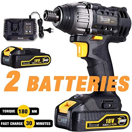 Clé à chocs électrique Sans Fil, TECCPO 180Nm Visseuse à Chocs Sans fil 18V, 2 Batteries 2.0Ah, 30min Charge Rapide, 6.35mm Mandrin - TDID01P