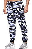 Tazzio Jogginghose Slim Fit Herren Sporthose Fitness Freizeit Hose Trainingshose Sweat Sweatpants Jogger | 16600 (Camouflage-Brau, XL)