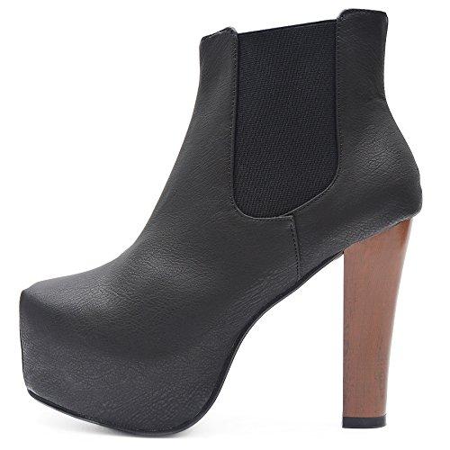 Kayla Shoes Plateau Chelsea Boots Holzabsatz Optik (39, Schwarz Leder)