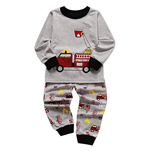 Fenverk 2Pc Jungs Pyjama Kinder Kleider Pjs NachtwäSche Zum LKW Dinosaurier Kind Kleinkind Lange äRmel Einstellen Baby MäDchen Karikatur Gedruckt Tops Hose Outfits 1Y-5Y(Grau 1,4-5 Jahre)