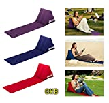 CKB Ltd Chill Out Portable Travel Inflatable Lounger with Wedge Shape Back Cushion - Perfect for Camping and Festivals (Purple)