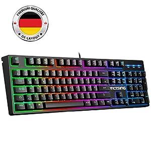 VicTsing Bluetooth Tastatur Kabellos, tragbar/Ultra-dünn Bluetooth3.0 Wireless Keyboard, Deutsche Layout, Multimediatasten, ON/Off-Schalter für iOS, Android, Windows, Laptop, Tablet, Smartphone