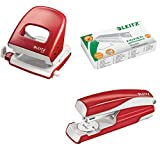 Leitz 5008 NeXXt Series Bürolocher, Metall, bis zu 30 Blatt / Kombi-Set mit Heftgerät + 1000 Klammern extra (rot)